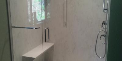 3/8 framless shower door with radius corner detail