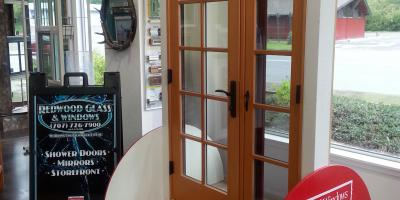 Milgard Ultra woodclad door with operable sidlite