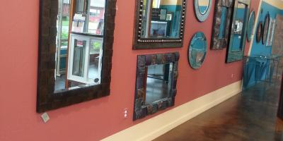 Framed mirrors in our showroom